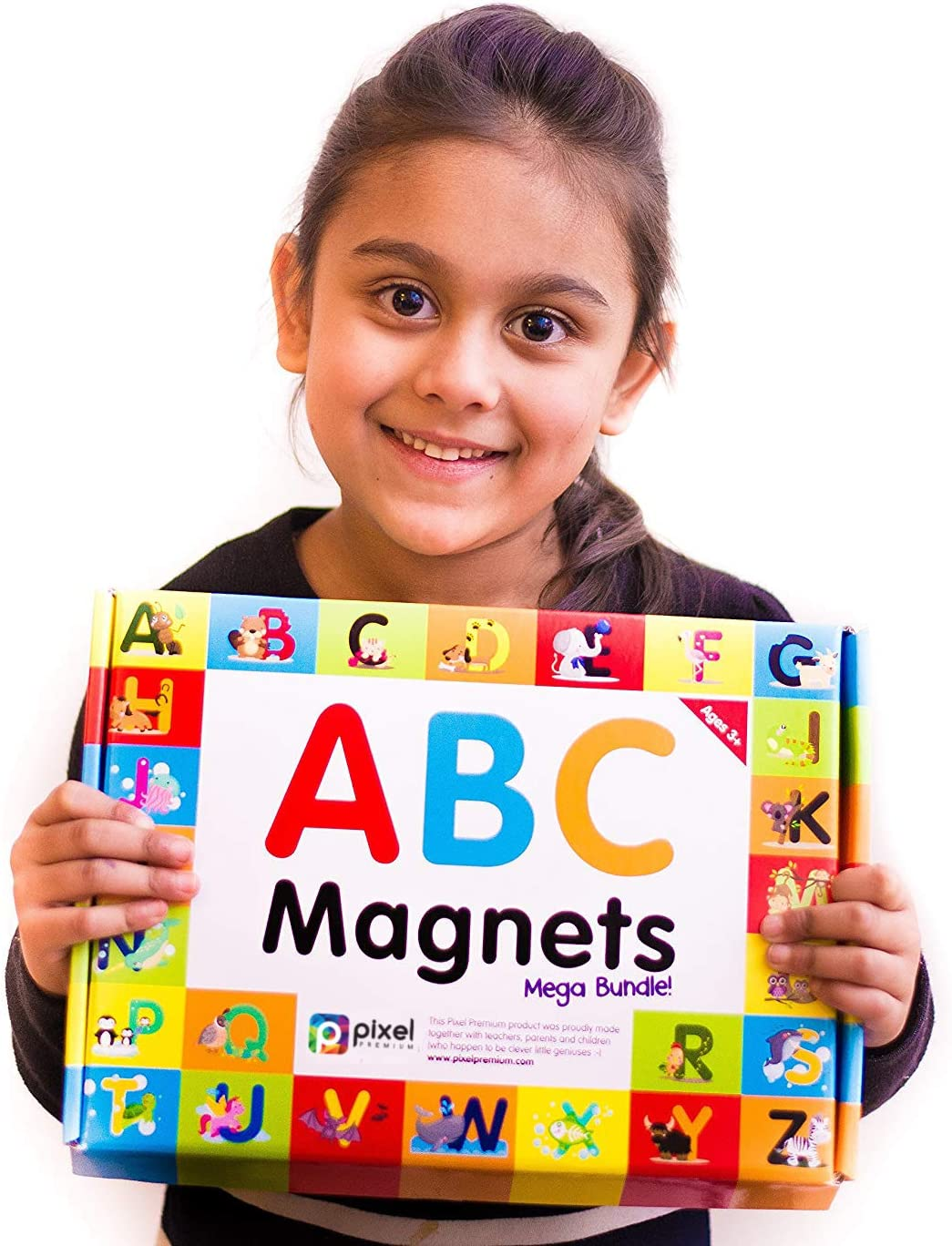 Pixel Premium ABC Magnets for Kids Gift Set - 142 Magnetic Letters for Fridge, Dry Erase Magnetic Board and FREE e-Book with 40+ Learning & Spelling Games - Best Alphabet Magnets for Refrigerator Fun!: Furniture & Decor