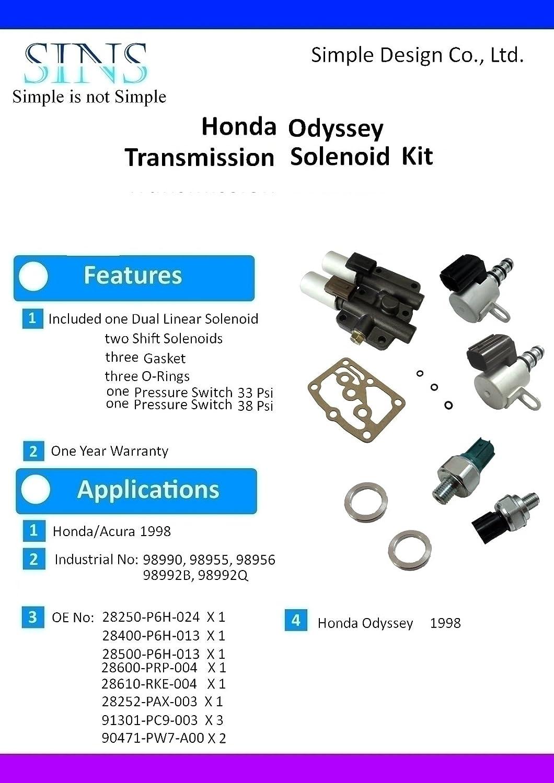 Amazon.com: Honda Odyssey Transmission Solenoid Pressure Switch Kit  28250-P6H-024 28400-P6H-013 28500-P6H-013 28600-PRP-004 28610-RKE-004:  Automotive