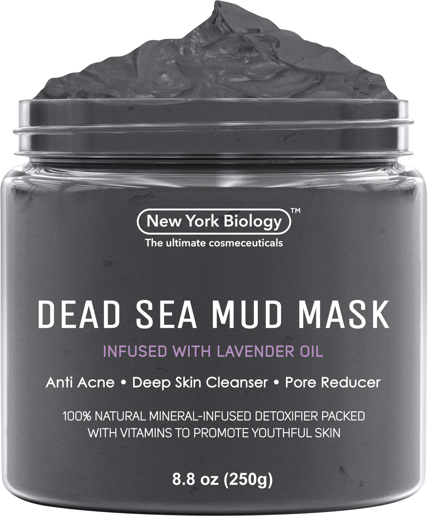 New York Biology Dead Sea Mud Mask Infused with Lavender - All Natural - Spa Quality Pore Reducer to Help with Acne, Blackheads and Oily Skin Tightens Skin for A Healthier Complexion - 8.8 oz by New York Biology