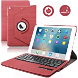 iPad Air 2 Keyboard Case,Dingrich Premium PU Leather 360 Rotating Protective Case with Magenet Keyboard for iPad Air 2+Screen Protector+Stylus (Red)