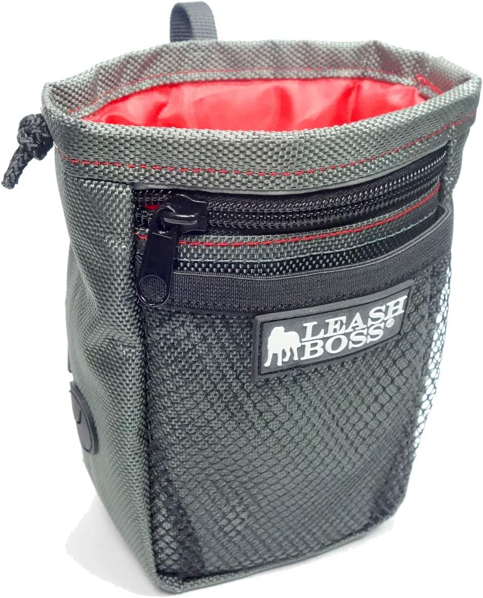 Leashboss Dog Treat Pouch for Training with Waste Bag Dispenser, Waist Attachment or Belt Loop (Grey/Red/Black, Standard)