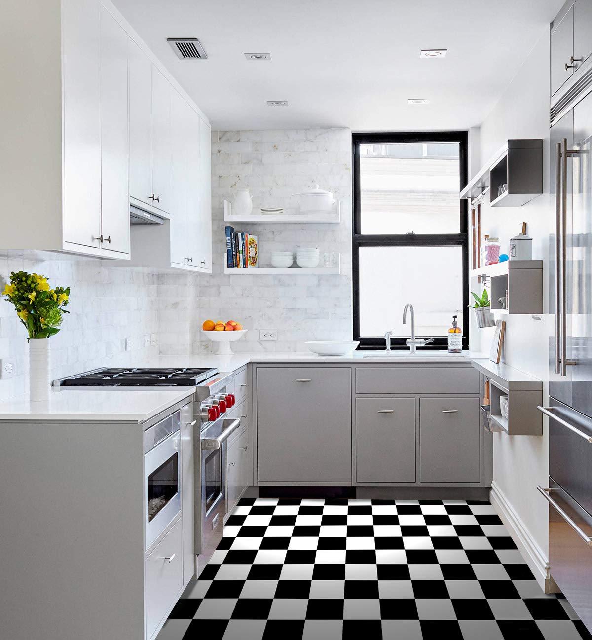 Raphael Rozen Vinyl Floor Tile' 12 by 12-Inch,Checkered Black and White Tile, Pack of 20