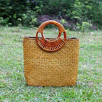 Amazon.com: Bolsas de paja hechas a mano de MOXIN para mujer ...