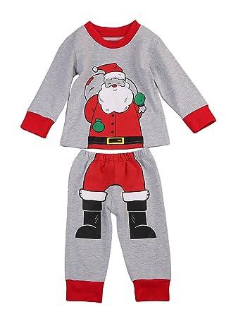 amazoncom baby boys girls kids santa claus christmas pajama set long sleeve tshirt top and pants clothes 2pcs clothing