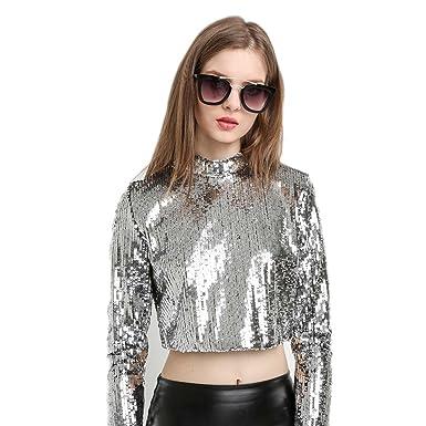 f08155268331c WeHeart Women O-Neck Long Sleeve Sequin Femme T-Shirt Solid Femininas  Harajuku Tees