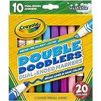 Crayola Marcadores lavables de doble punta, línea ancha y punta de cincel, 10 unidades