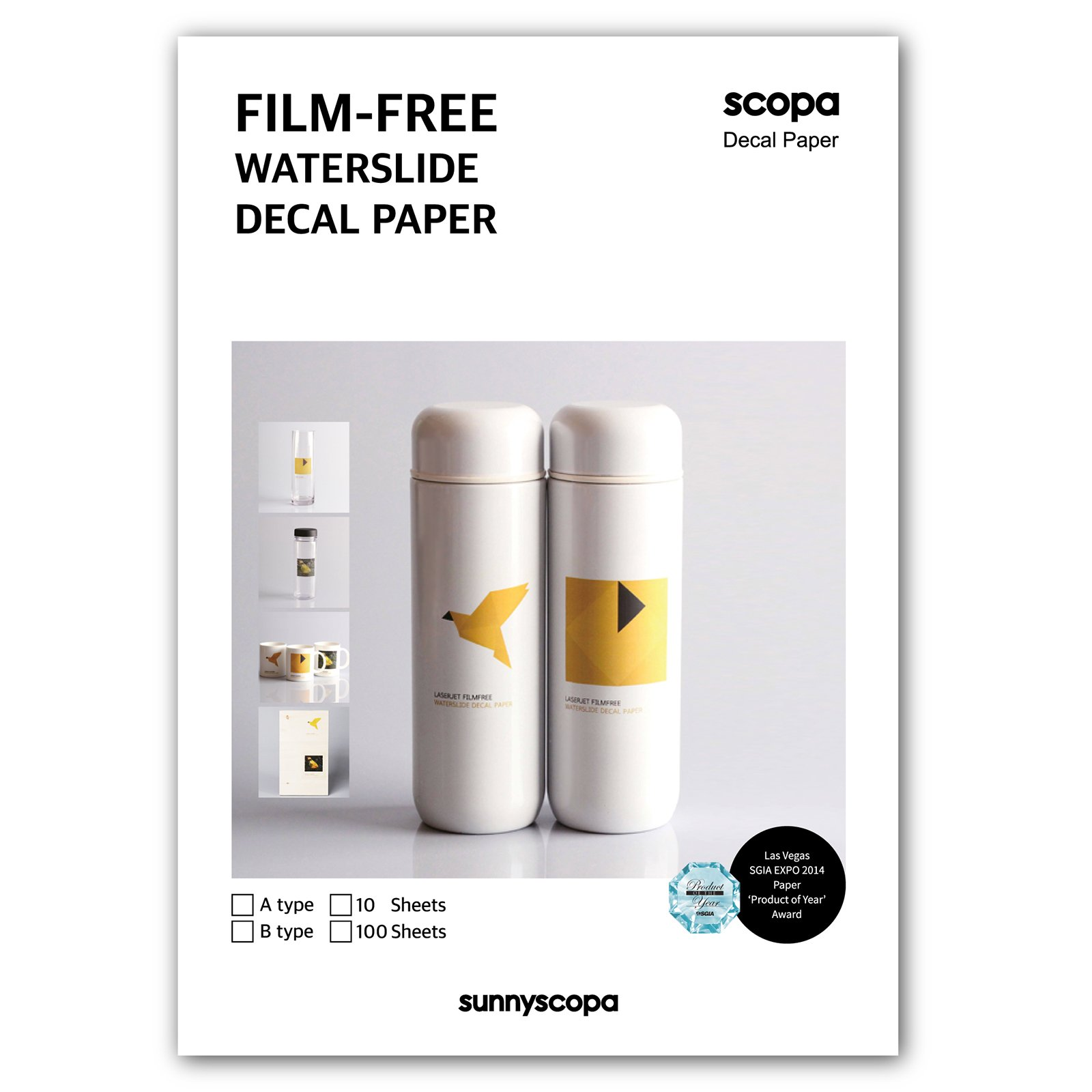 Sunnyscopa DIY Film-free Laser Decal Transfer Paper Type A A4 (10 sheets with 1.7 fl.oz Glue W1)