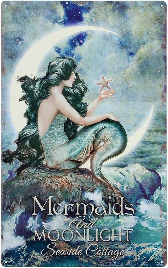 Mermaids & Moonlight Tin Advertising Sign | Mermaid Home Decor Bathroom Wall Art | Beautiful Vibrant Colors | 16 x 10 Inch