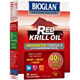 Bioglan Red Krill Oil plus Omega 3 Fish Oil, EPA and DHA, great for healthy heart, brain and vision, one month supply - 30 capsules