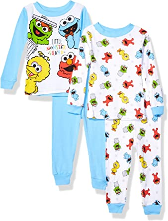 TODDLER BOYS SESAME STREET BIG BIRD ELMO PAJAMA PJS SET SIZE 24 MONTHS