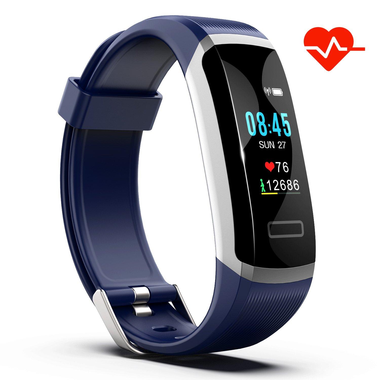 Akuti Fitness Tracker mit Herzfrequenz, IP67 Wasserdichtes Fitness Armband mit 0,96 Zoll Buntbildschirm/Kalorien Strecke Schrittzähler/Schlafmonitor/ SMS Anruf App Beachten für Kinder Damen Herren Fitness Tracker mit 0