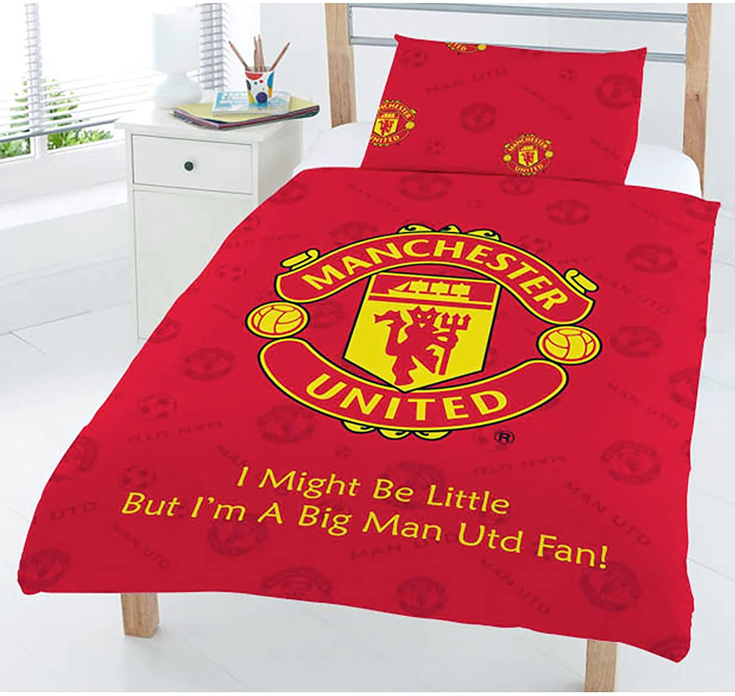 Character World Manchester Football Club MUFC Red Junior Cot Bed Duvet Quilt Cover Manchester United