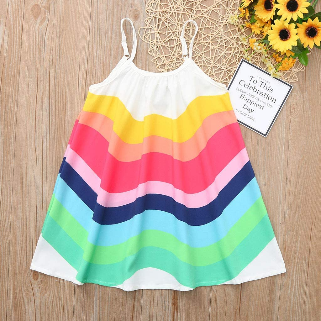 1-5Years,SO-buts Toddler Baby Girls Summer Clothes Beach Casaul Loose Sleeveless Rainbow Print Vest Sling Dresses