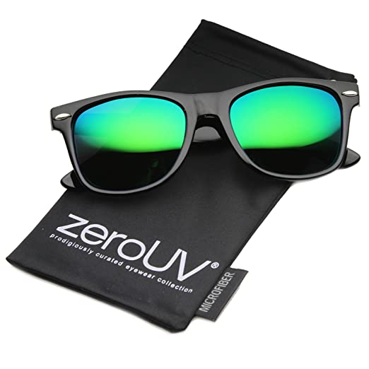 e978273241 Image Unavailable. Image not available for. Color  Flat Matte Reflective  Mirror Color Lens Large Horn Rimmed Style Sunglasses ...
