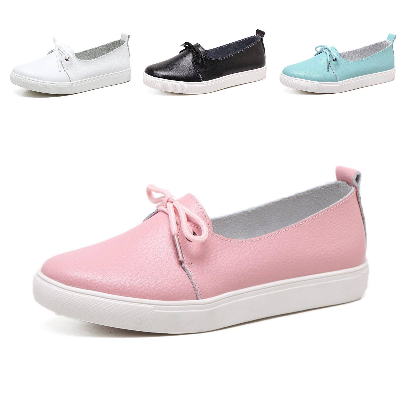 WAWEN Femme Mocassins Chaussures Souples Bateau Plates Rose Loafers Cuir Chaussures de Plat Conduite Cuir Infirmière Souples Chaussures Rose b67e9fc - reprogrammed.space