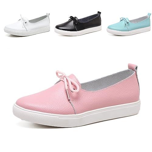 Mocasines Calzado Plano-Mocasines para Mujer Zapatos de Cuero Casual Zapatos Mocasines de conducción de Zapatos Enfermera Rosa 44: Amazon.es: Zapatos y ...