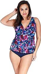 f5e53538652df Mazu Swim Plus Size Women s Mesh Ruffle Triple Tier Swimwear Tankini Top  (18W-24W