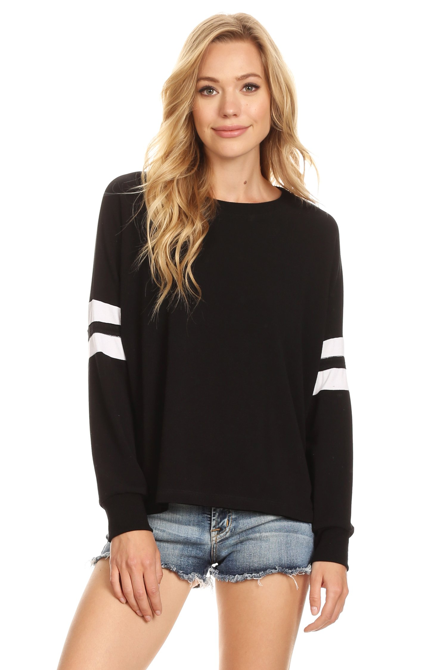 Alexander + David A+D Womens Casual Lightweight Varsity Stripe Long Sleeve Top (Black, Medium) by Alexander + David