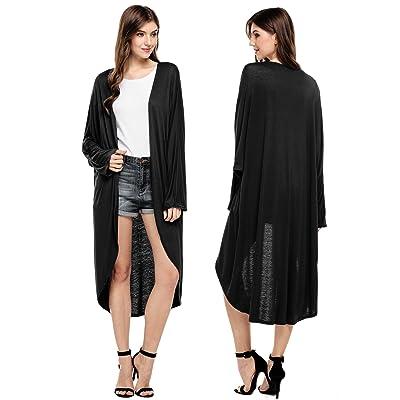 Goodfans Women's Casual Long Sleeve Waterfall Duster Coat Maxi Cardigan