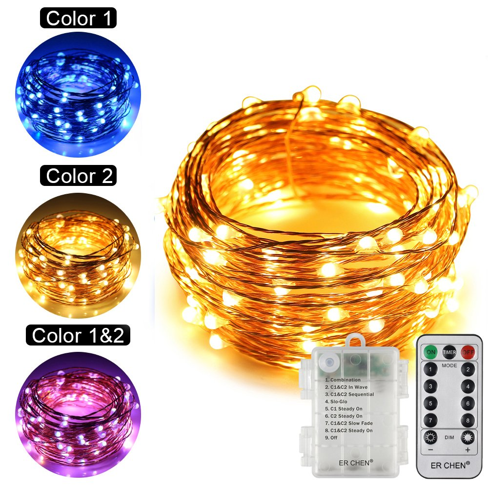 ErChen Dual-Color Battery Operated Led String Lights (Warm White/Blue), 33 FT 100 Leds Color Changing Silvery Copper Wire Dimmable Fairy Light with Remote Timer for Indoor/Outdoor Christmas