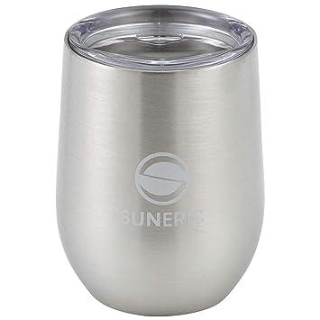 SUNERIC Vasos de vacío de doble pared de acero inoxidable con tapa | Vaso al vacío para vino, café u otras bebidas | 12 oz (350 ml, 0,37 qt)