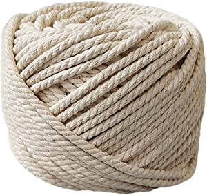 """PYJTRL 100% Natural Cotton Twisted Rope 1/12"""", 1/8"""", 1/6"""",1/5"""" (5mm(1/5Inch x 328Feet))"""