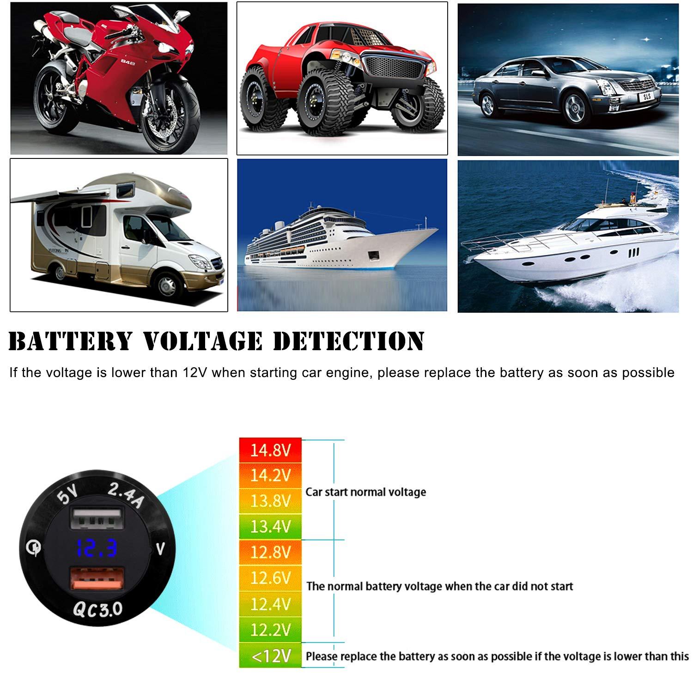 Alliage daluminium Imperm/éable Prise Chargeur USB avec Voltm/ètre Num/érique LED pour Moto Kriogor Dual Prise USB Voiture Bateau et Plus Camion Double Chargeur de Voiture Caravane Rouge Am/élior/é