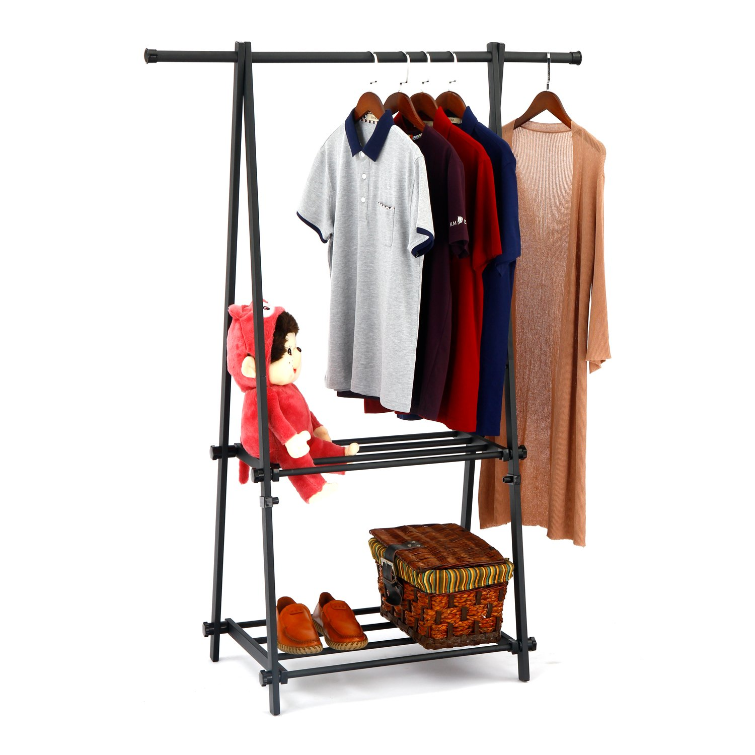 LCH Metal Foldable Entryway Organizer Clothing Garment Rack with 2-Tire Shelf for Shoes Clothes Storage Black