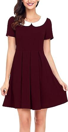 Womens Contrast Peter Pan Collar Ladies Swing Flared Mini Short Dress Plus Size