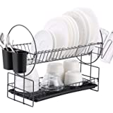 2 Tier Dish Rack, Kitchen Dish Drying Rack with Drainboard/Cutlery Cup (Dark Gray)