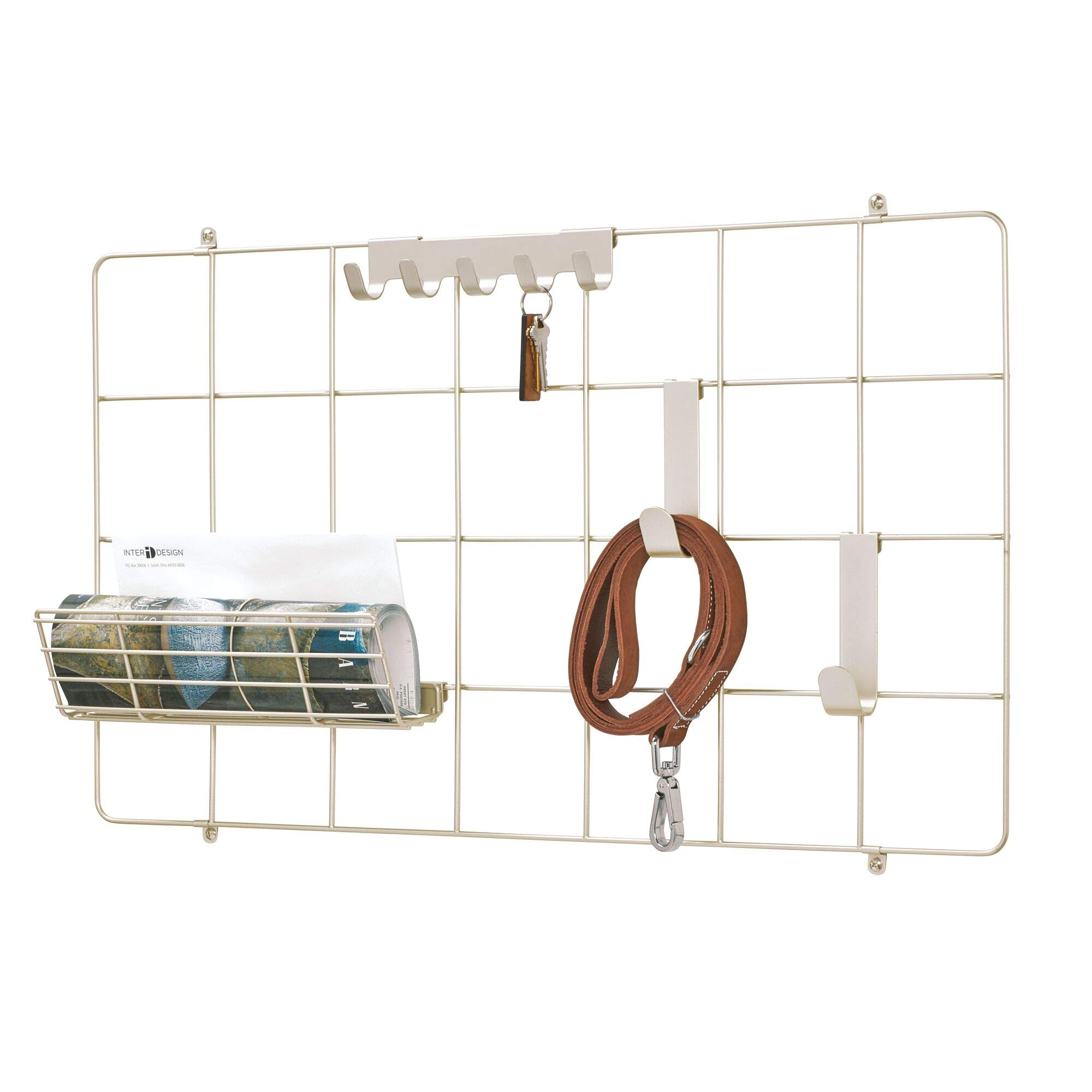 iDesign Jayce Metal Wall System, Modular Grid Organizational Panel for Additional Storage in Kitchen, Bathroom, Office, Craft Room, Garage, Basement, Satin