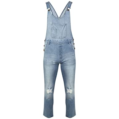 Womens Relaxed Fit Stretch Denim Dungaree Blue Size 6 8 10 12 14 16 Ripped