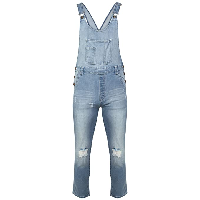 fea986a4c8 ladies Womens denim jeans ripped knee jumpsuit dungaree Sexy 8 10 12 14 16 ( UK 12