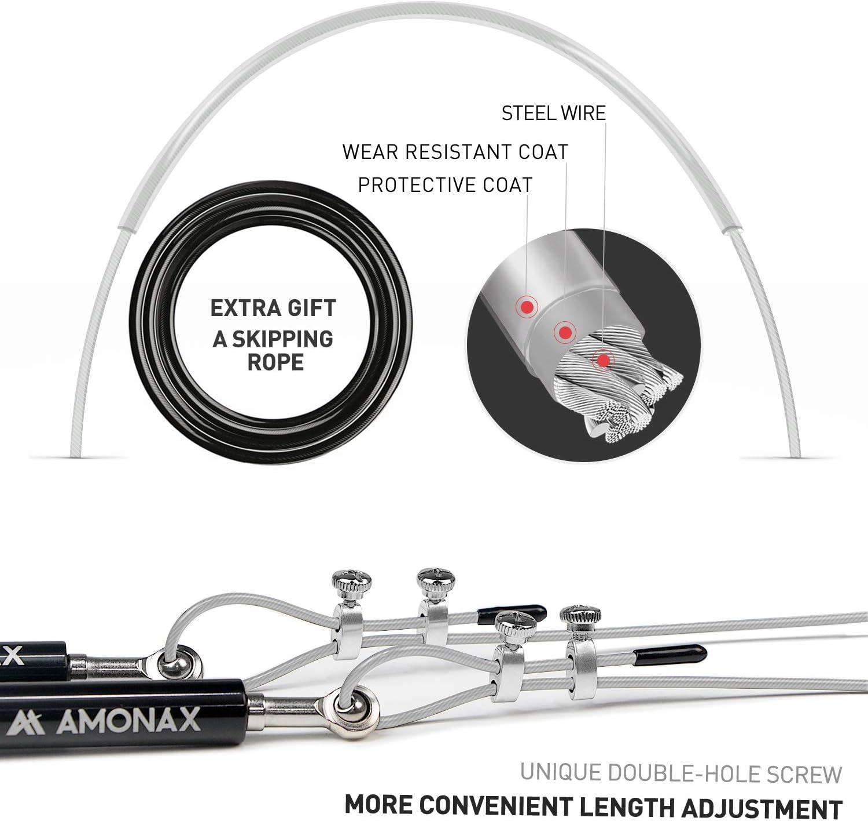 Outdoor Entra/înement pour Double Unders Adjustable Jump Rope avec roulements /à Billes WOD Remise en Forme Amonax Auto-bloquants Corde /à Sauter MMA /& Boxe Training