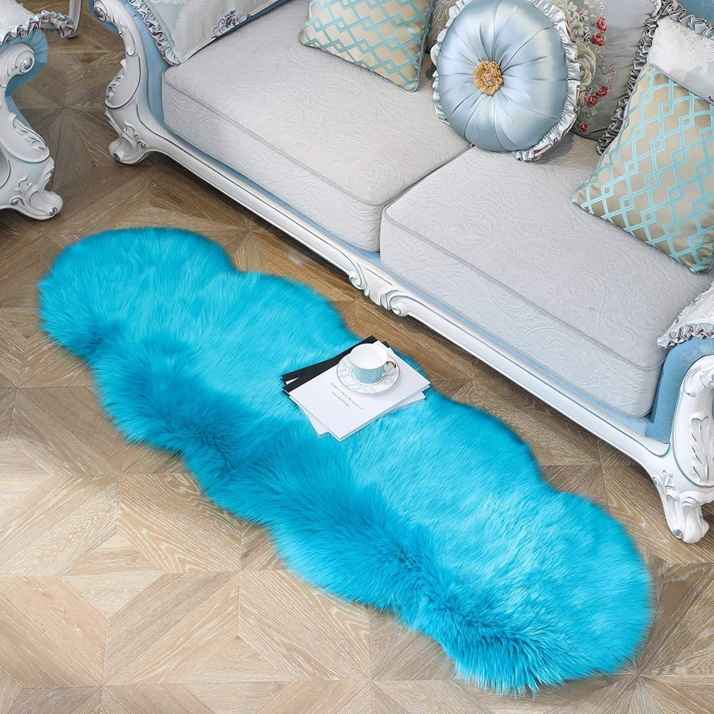 JIWIDO Soft Faux Fur Area Rug Round Rug Decorator Carpets Kids Play Rug Soft Fluffy Rugs for Living Room Floor Girls Room Sofa Home Decor Carpet 2'x6' (Blue)