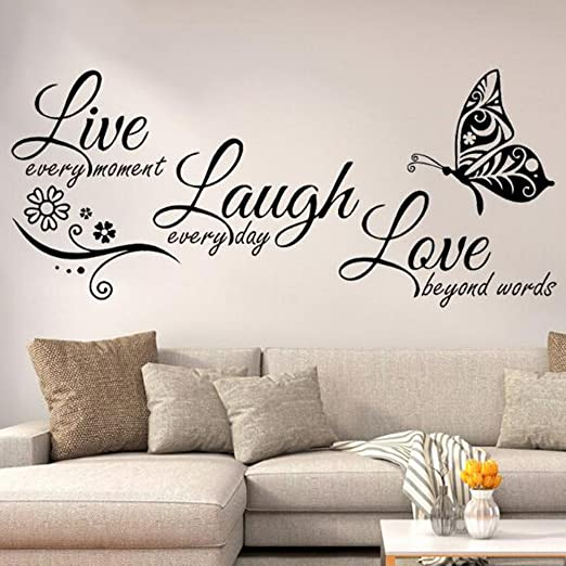 LIVE LAUGH LOVE Wall Stickers Butterfly Vinyl Decal Home Art Decor Paper Diy