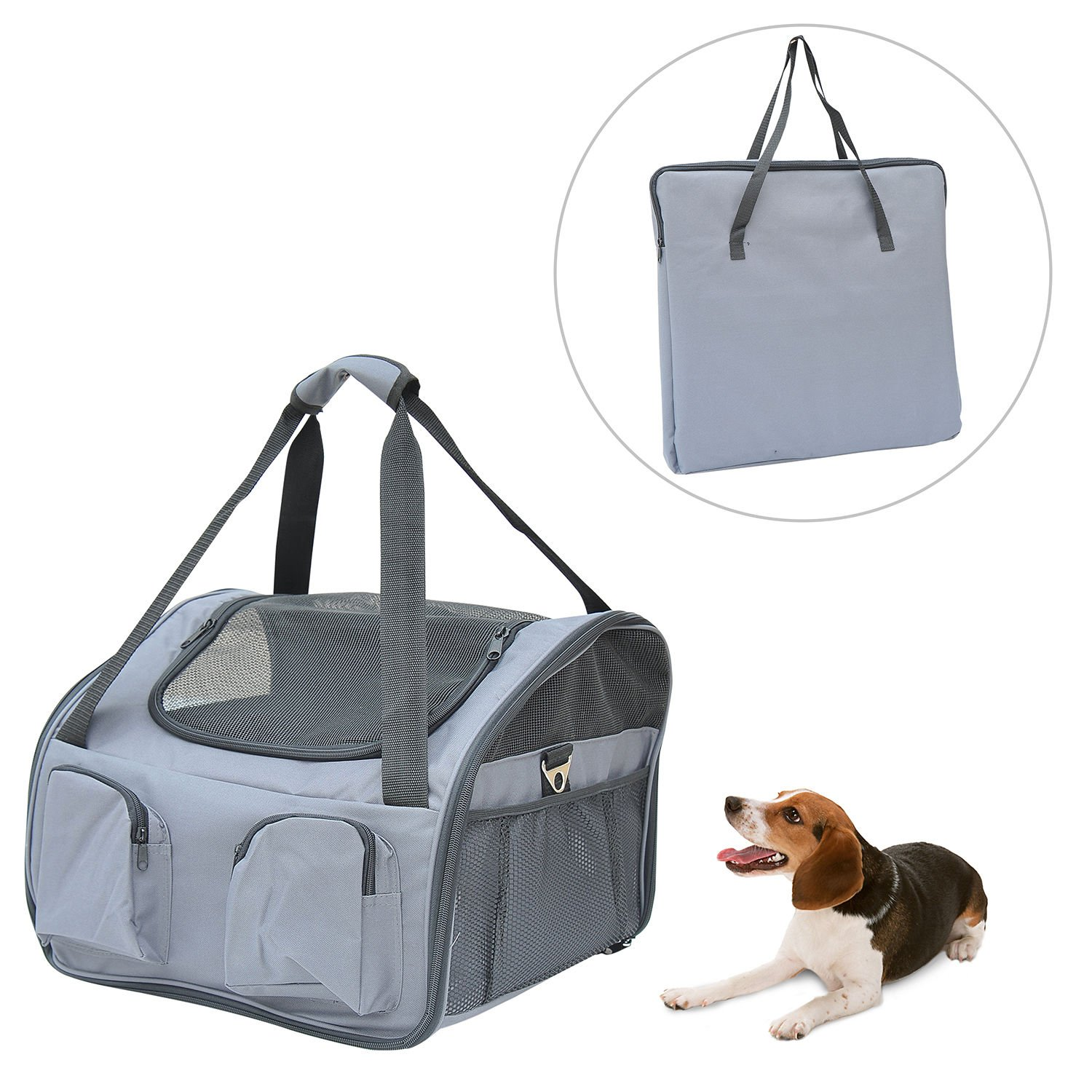 New Pawhut Deluxe Pet Dog Cat Car Bag Travel Soft Carrier Lookout Seat - Gray
