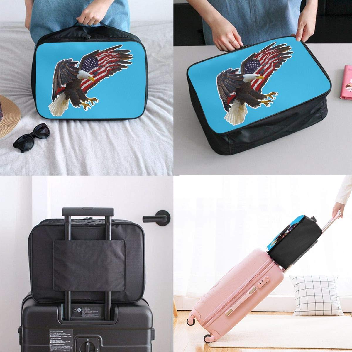 YueLJB American Eagle Flag Lightweight Large Capacity Portable Luggage Bag Travel Duffel Bag Storage Carry Luggage Duffle Tote Bag