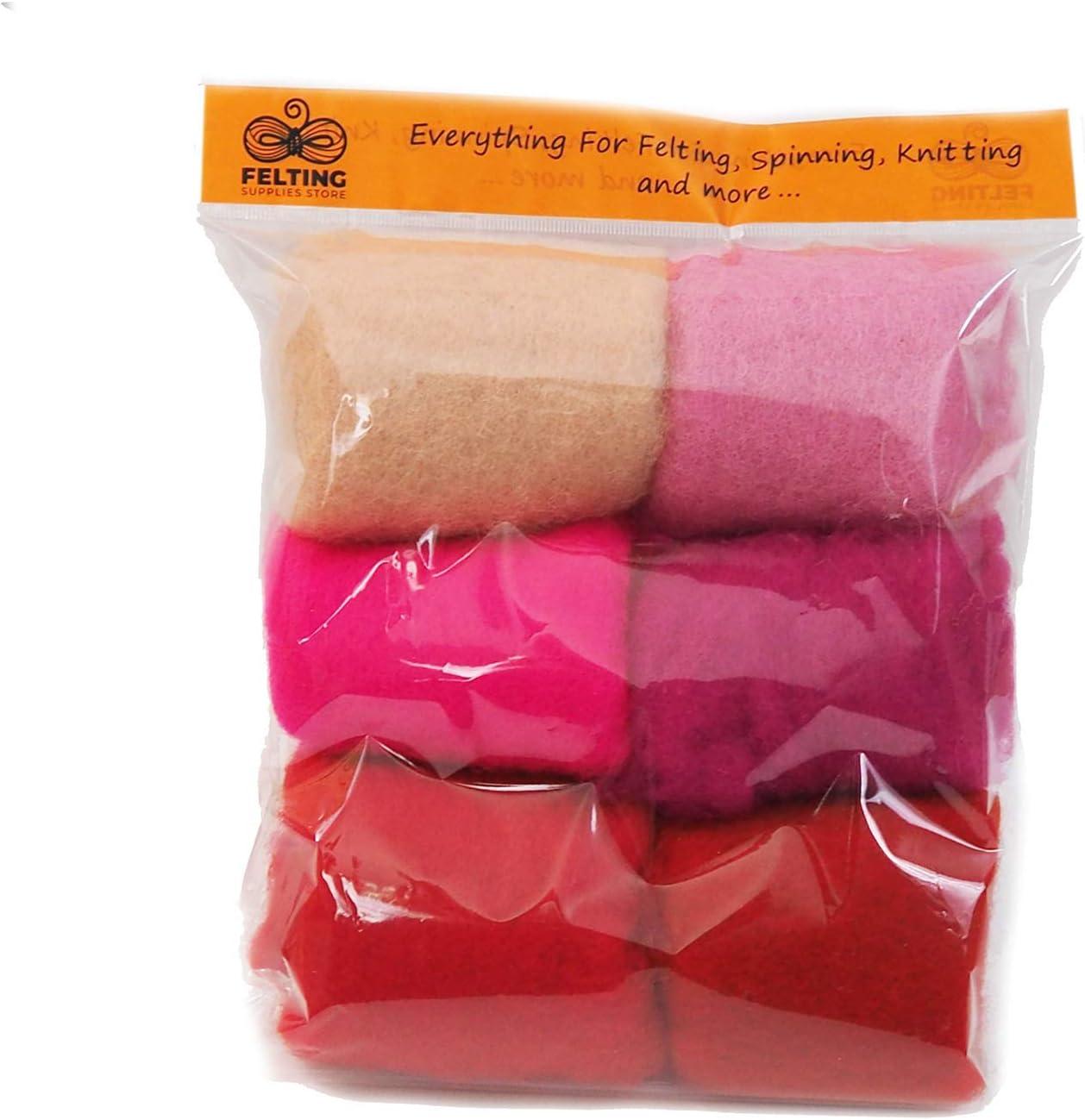 Pink Palette Wool Felt Pack Wool Batt Spinning Carded Wool Set for Needle Felting Starter Kit Felting Supplies 26-29micron Felting Wool Kit Wet and Nuno Felting 60g//2.1oz