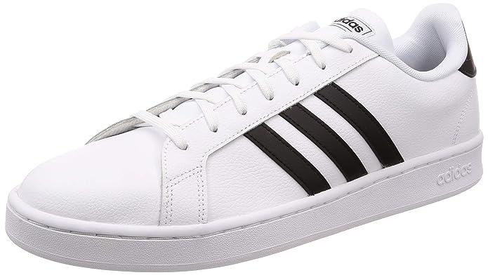 adidas Grand Court Herren Sneakers (Tennisschuhe) weiß mit schwarzen Streifen