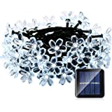 Qedertek Flower Solar String Lights, 21ft 50 LED Fairy Blossom Lights for Outdoor, Home, Lawn, Garden, Patio, Party and Holiday Decorations (Cool White)