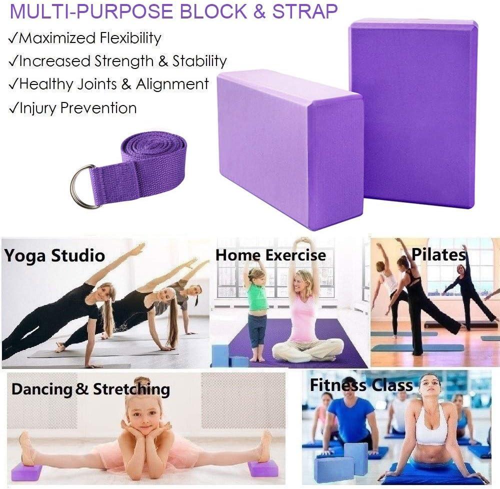 Bloque de Espuma EVA de Alta Densidad para Hacer Ejercicios en Casa-Set de Yoga para Mejorar Fuerza y Flexibilidad Yoga//Pilates Amantes KidsHobby 2pcs Bloques de Yoga+Correa
