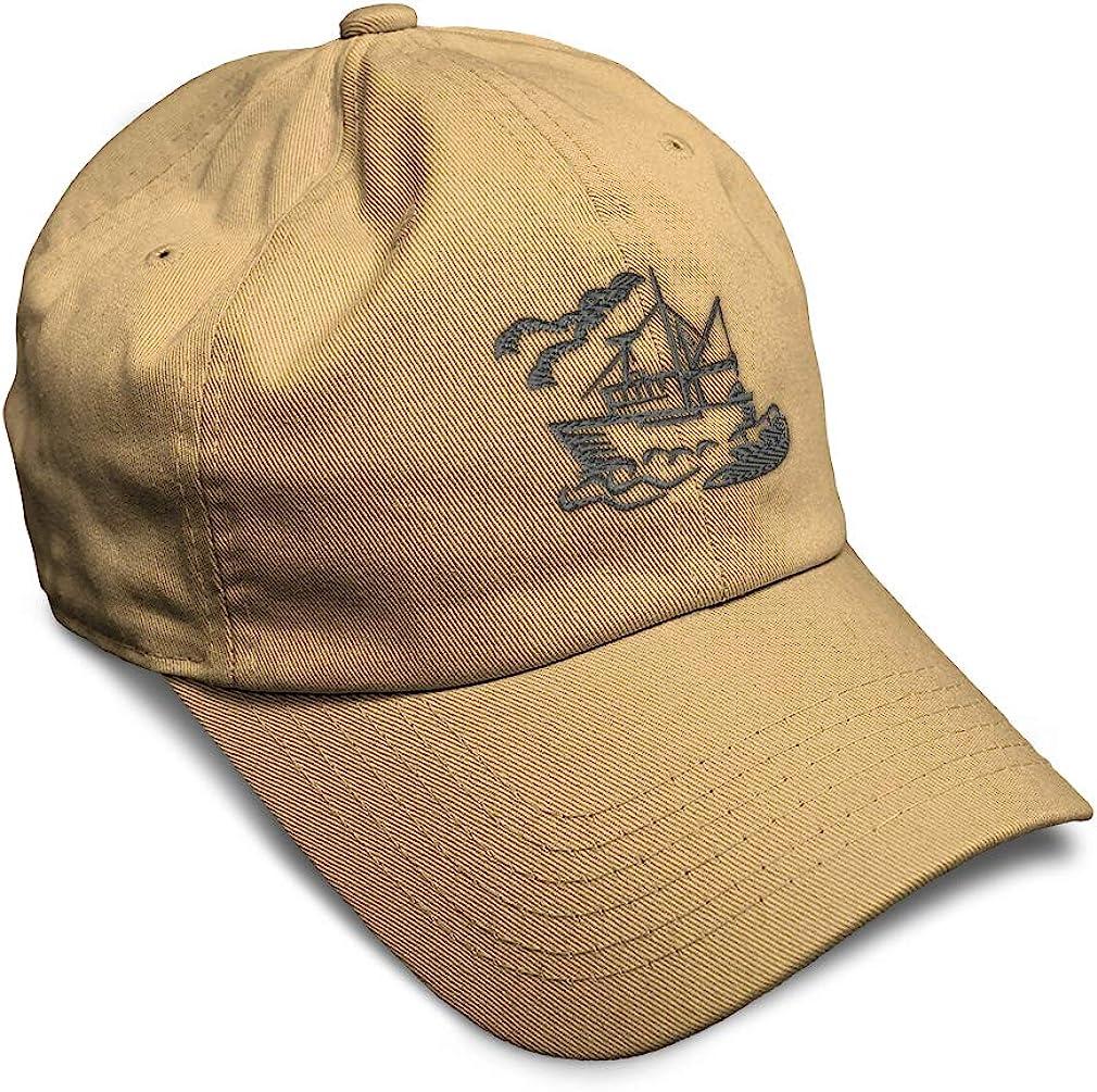 Custom Soft Baseball Cap Ship Silhouette B Embroidery Dad Hats for Men /& Women