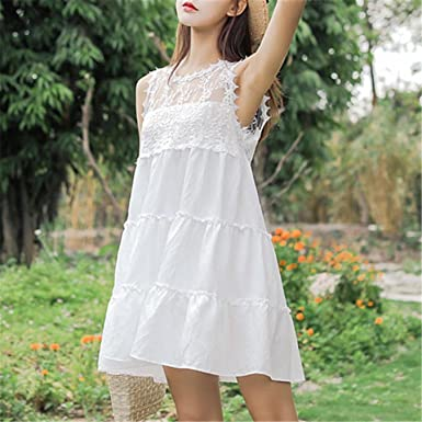 53c0bec620 Image Unavailable. Image not available for. Color: Casual Short Summer Lace  Dress Women Sweet Sleeveless ...
