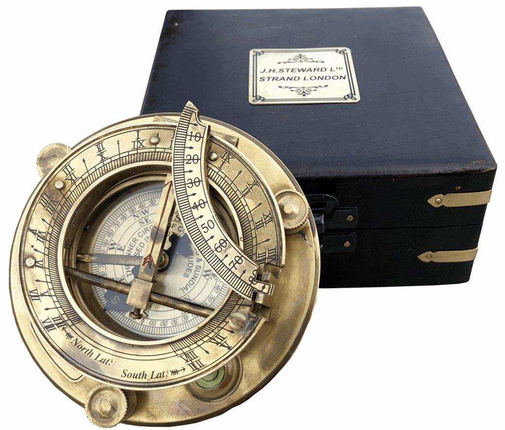 A S Handwerk Matrosen/Vintage Messing-Kompass mit Holzkiste/J.H. Steward Directional Magnet-Kompass für Navigation, Sonnenuhr, Taschen-Kompass für Camping, Wandern, Touren