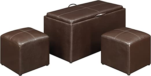 Amazon Com Convenience Concepts 143012 Sheridan Faux Leather Storage Bench With 2 Side Ottomans Dark Espresso Kitchen Dining