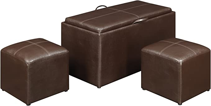 Convenience Concepts 143012 Sheridan Faux Leather Storage Bench With 2 Side Ottomans Dark Espresso Furniture Decor