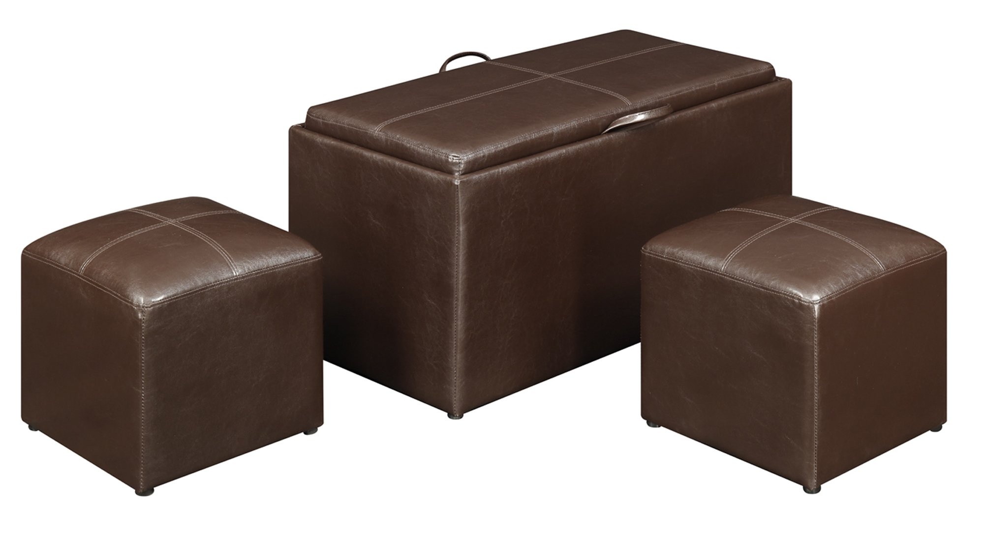 Convenience Concepts 143012 Sheridan Faux Leather Storage Bench with 2 Side Ottomans, Dark Espresso by Convenience Concepts