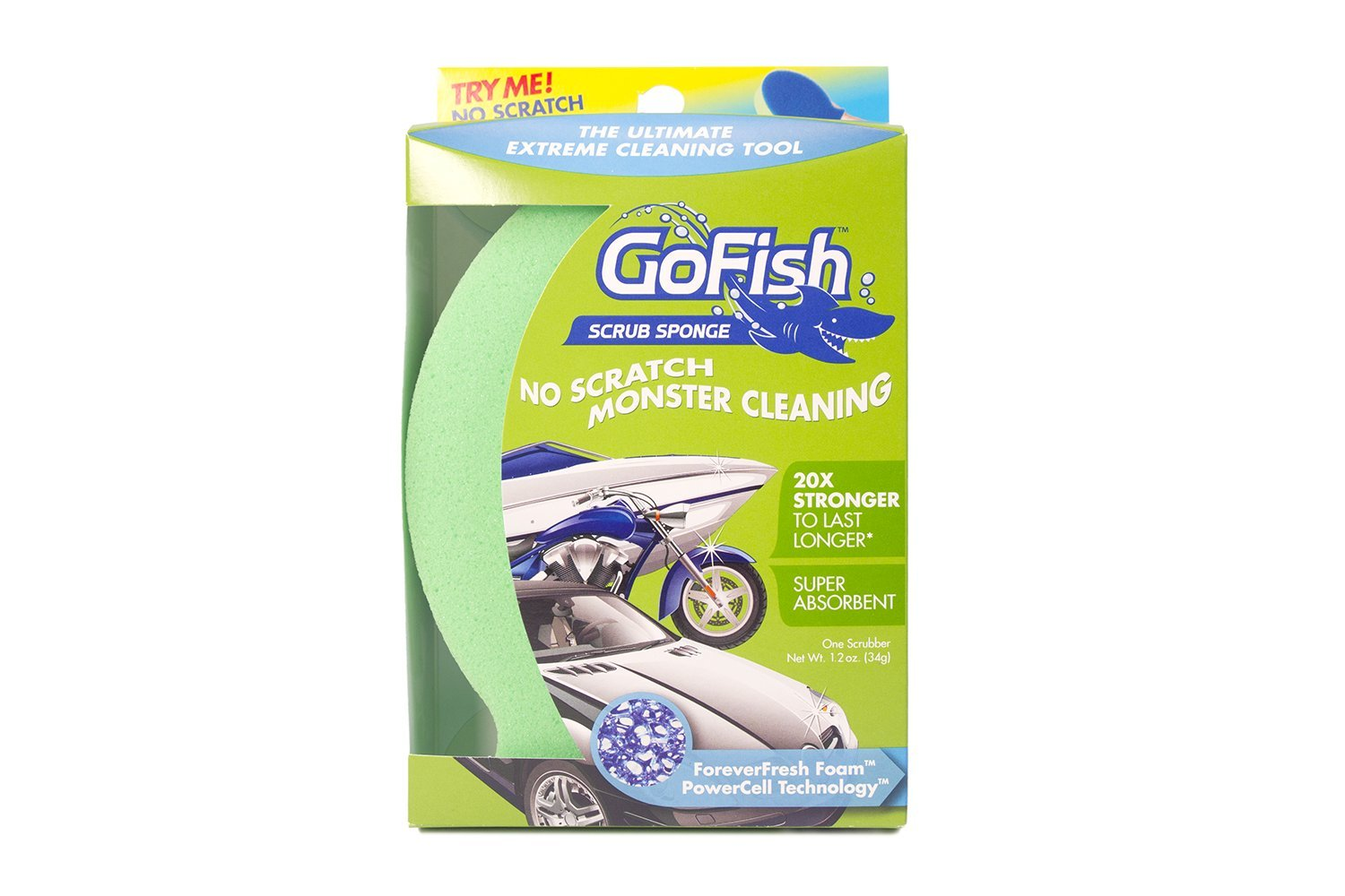 DishFish GoFish Scrub Sponge No Scratch Big Cleaning Sponge for Cars, ATVs, Wheels and More (Single)
