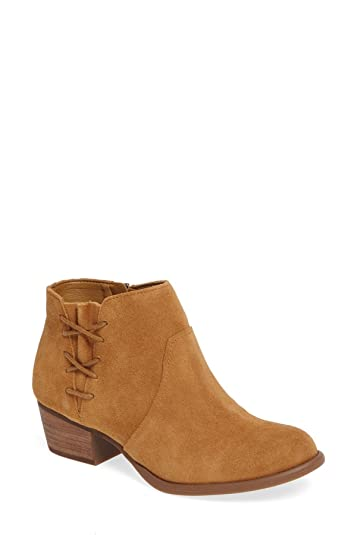 Women's deonne Suede Corset-Inspired Side Stacked Block Heel Ankle Bootie